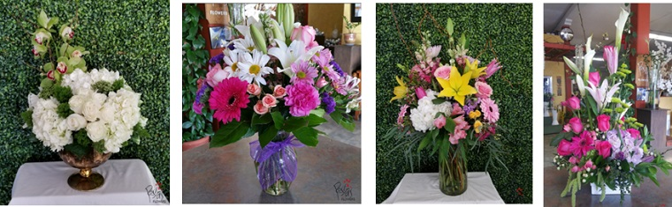 4 different flower arrangements using different types of flowers with a green bush background